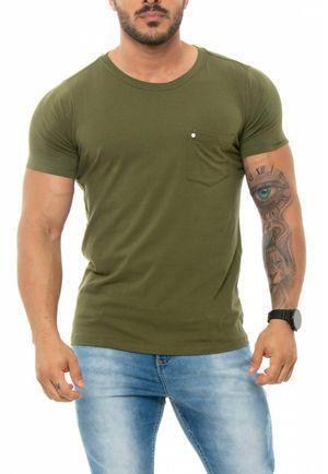 Camiseta Pocket Rebite Verde Militar