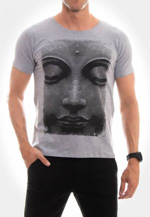 Camiseta Buda Haftone Cinza