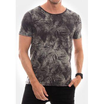 Camiseta Canoa a Fio Folhagem Preta
