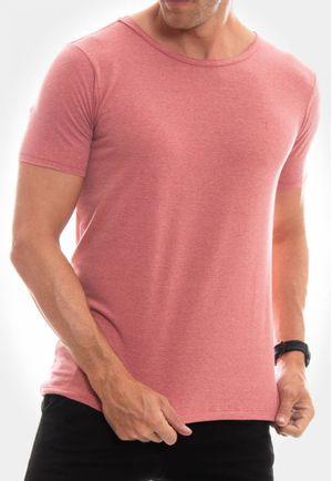 Camiseta Canoa a Fio Mescla Vermelha