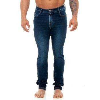 Calça Jeans Linha no Bolso Etiqueta Marrom