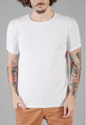 Camiseta Básica Raglan Manga Curta Branca