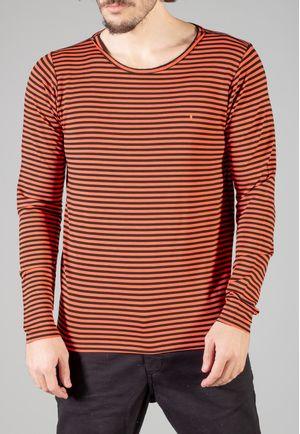 Camiseta Manga Longa Stripes Laranja e Preta