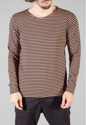 Camiseta Manga Longa Stripes Chocolate e Preta