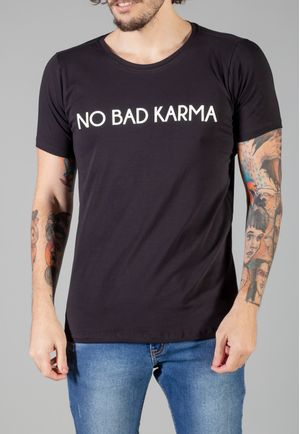 Camiseta Small Lettering No Bad Karma Preta