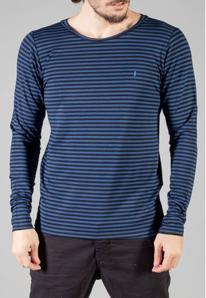 Camiseta Manga Longa Stripes Marinho e Preta