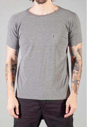 Camiseta Básica Raglan Manga Curta Mescla Grafite