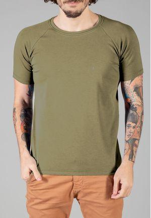 Camiseta Básica Raglan Manga Curta Verde Militar