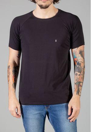 Camiseta Básica Raglan Manga Curta Preta