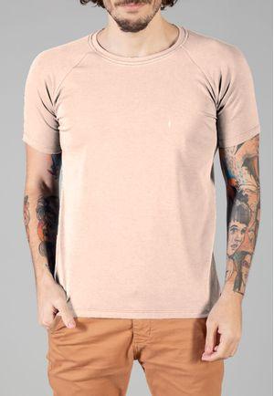 Camiseta Básica Raglan Manga Curta Bege
