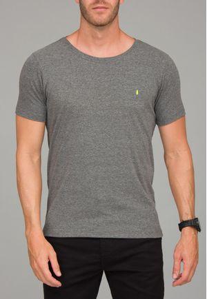 Camiseta Básica Gola CanoaMescla Escuro