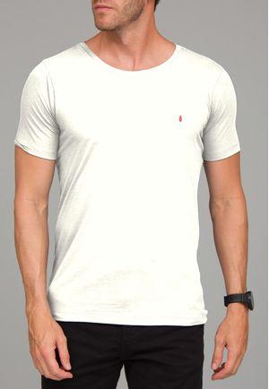 Camiseta Básica Gola Canoa Off White