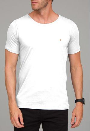 Camiseta Básica Gola CanoaBranca