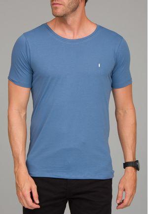 Camiseta Básica Gola Canoa Azul Cobalto