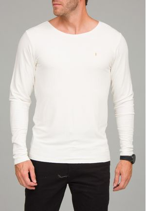 Camiseta Manga Longa a fio Moletim Off White