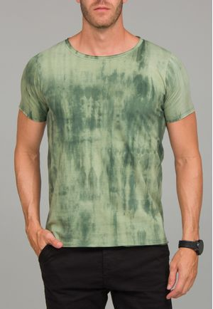 Camiseta Manga Curta a fio Tie Dye Verde