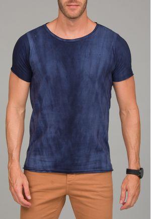 Camiseta Manga Curta a fio Tie Dye Marinho