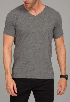 Camiseta Básica Gola V Mescla Escuro