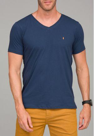 Camiseta Básica Gola V  Marinho