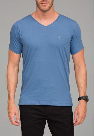 Camiseta Básica Gola V Azul Cobalto