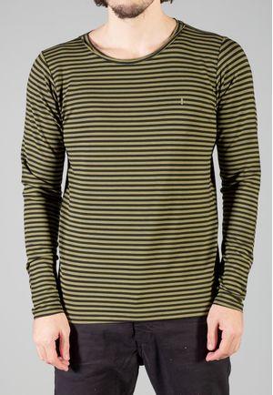 Camiseta Manga Longa Stripes Musgo e Preta