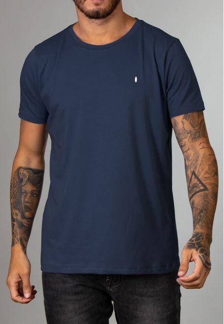 Camiseta Básica Gola Canoa Marinho